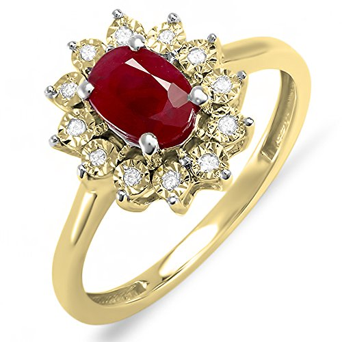 Damen Ring Kate Middleton Diana Inspired 18 Karat Gelbgold Rund Diamant & Oval Echte Rubin Verlobungsring