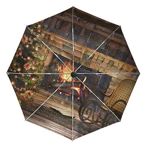 Petit Parapluie de Voyage Coupe-Vent extérieur Pluie Soleil UV Auto Compact 3 Plis parapluies Couverture - Chaise à Bascule Arbre de noël