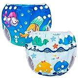 Luxja Couches de Bain, Bébé Maillot de Bain 2PCS, Lavable, Réutilisable, Ajustable, Pour les enfants de 0-3 ans, Baleine+poissons