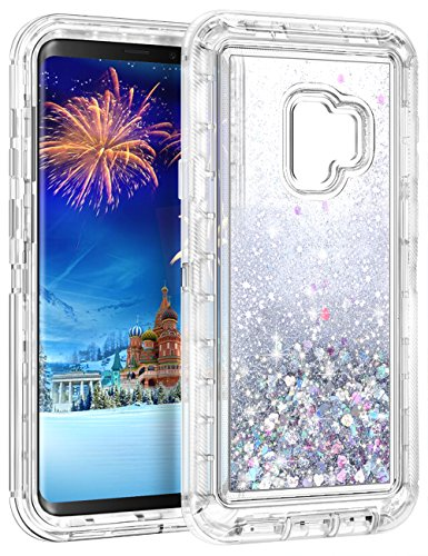 WOLLONY Galaxy S9 Case, 360 Full Body Shockproof Liquid Glitter Quicksand Bling Case Heavy Duty Phone Bumper Non-Slip Soft Clear Rubber Protective Cover for Samsung Galaxy S9 - Silver