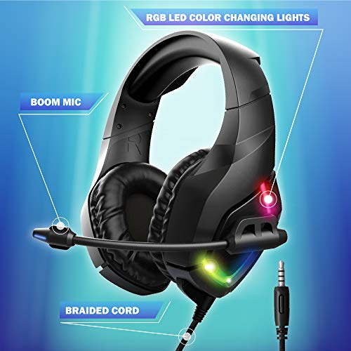 Bugha Exclusive LED Gaming Headset w/Boom mic, 3.5mm aux-in + PC Connector