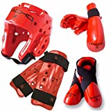 Macho Dyna 7 piece sparring gear set with shin guards red child small