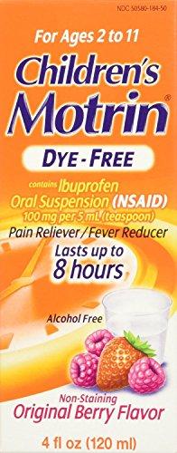 Motrin Children's Dye-Free Pain Reliever/Fever Reducer, Original Berry Flavor 4 oz