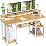 NOBLEWELL Computer Desk with Monitor Stand Storage Shelves Keyboard Tray,47' Studying Writing Table for Home Office (Bamboo)