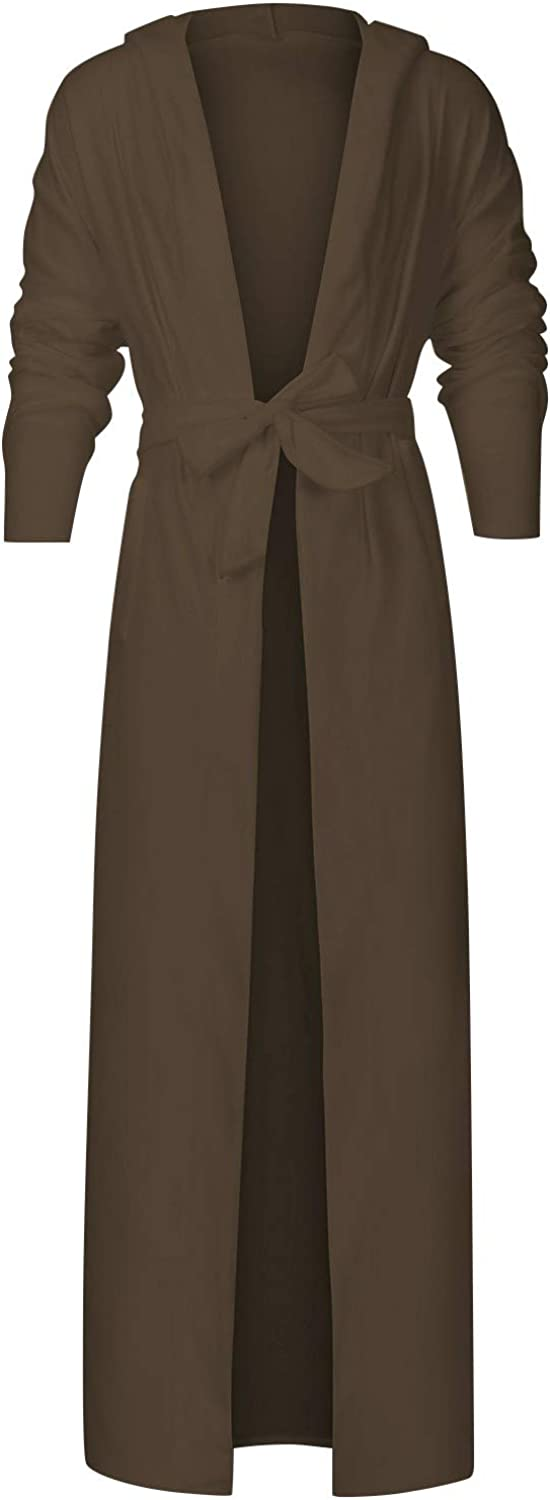 Mens Extra Long Nightgown with Belt Spring Home Bathrobe Solid Color Open Front Bath Robe Sleepwear for Men