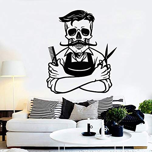 Cool Barber Skeleton Applique Barber Barbershop Hair Vinyl Wall Sticker Peluquería Sticker Window Decor Mural A2 56X66CM
