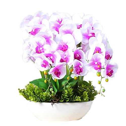 Sarazong Ornements de Fleurs artificielles Phalaenopsis, Réaliste Toucher Réel Faux Fleurs Petit en Pot De Soie Fleur Décoration De Table Floral pour La Décoration Intérieure,D