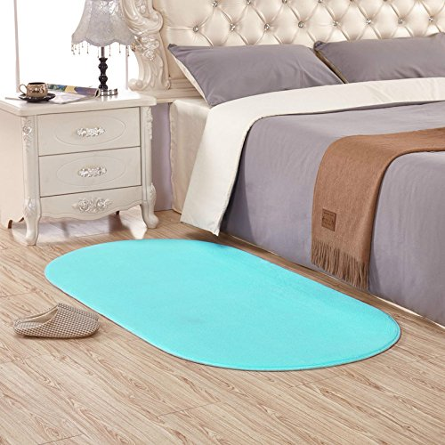 KOOCO Long Oval Coral Velvet Area Rug for Home Bedroom Brief Soft Living Room Rugs and Carpets Coffee Table Floor Mat Kids Play Mat, Sky Blue, 1400MM X 2000MM