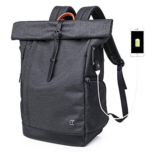 Roll-Top Rucksack, Business Rucksack Wasserdicht Stilvolle Schule Reisen für Studenten fit 15,6 Zoll Laptop mit USB-Ladeanschluss