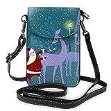 Lawenp Deer Bird Snow Crossbody Monedero para teléfono Pequeño Mini bolso de hombro Cell Phuna cartera de cuero para mujeres y niñas