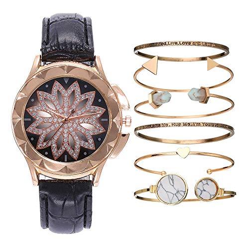 GYR Reloj de Cuarzo para Damas, Reloj de Puntero de Flores Calado con Diamantes para Enviar 6 Pulseras a Juego, Reloj de Regalo para niña gjkl Negro