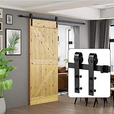 "U-MAX 6.6 FT Sliding Barn Wood Door Basic Sliding Track Hardware Kit (Basic""J"")"