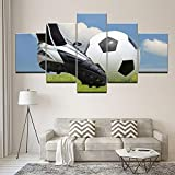 HJIAPO Cuadro En Lienzo Impresión De 5 Piezas Fútbol Cuadros Modernos Impresión De Imagen Artística Digitalizada | Lienzo Decorativo para Salón O...