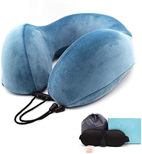 SMSOM Reisekissen-Memory-Schaumkissen, Nackenkissen für Flugzeug, Hals- und Kopfstützkissen für Schlafrest & Auto, Reisekissen-Kit mit Aufbewahrungstasche, Schlafmaske und Ohrstöpsel, Rosa
