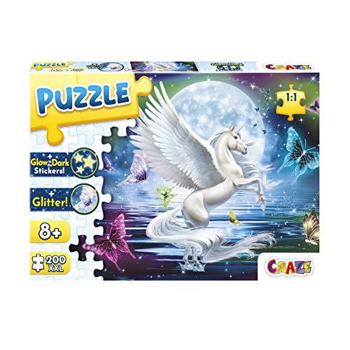 CRAZE Moonlight Pegasus 200+ Teile mit Glitzerdruck und Leuchtsternen Puzzle für Kinder ab 8 Jahren, 30196, Glitzereffekte + Aufkleber