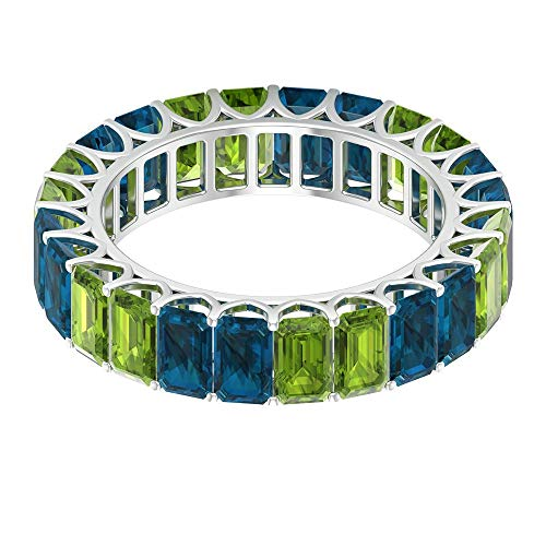 Solid Gold 9.00 CT Peridot Blue Topaz London Eternity Ring, Antique Women 5x3mm Octagon Shape Birthstone Promise Matching Rings, Bridal Proposal Rings, 14K White Gold, Size:UK T