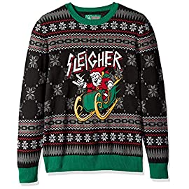 Ugly Christmas Sweater Company Men's Assorted Santa Crew Neck Xmas Sweaters 1 Pullover crew neck sweater with stripped sleeves Fits true to size Be the hit of the Christmas party