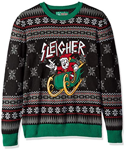 Ugly Christmas Sweater Company Men's Assorted Crew Neck Xmas Sweaters, Black Sleigher Santa, Large