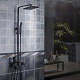 DFJU Chuveiro Full Copper Four Black Shower Set Square Matte Chuveiro Chuveiro Banheira Torneira Chuveiro Banheira Torneira Misturador para Hotéis Familiares