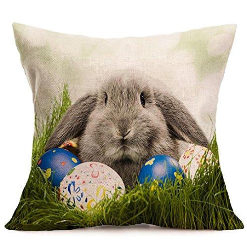 Kissenbezug 43 x 43 cm Tier Kaninchen Eier Ostern Sofa Taille Bett Home Decor Festival Kissenhülle LuckyGirls (C)