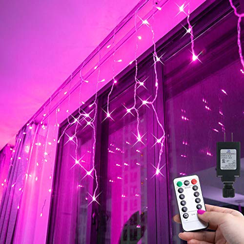 Oycbuzo LED Icicle Lights, 304 LED 27.5ft x 2.3ft Christmas Lights Plug in 29V Window Curtain Fairy String Lights with Remote 8 Modes for Backdrops Bedroom Wedding Indoor Halloween Decorations(Pink)