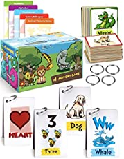 Beautiful Flash Cards For Toddlers - 5x Easy Learning Flashcard Sets To Teach ABC Alphabet, Numbers, First Words, Colors, Shapes & Memory/Matching Game - Fun Homeschool Learning Toy For Your Kids