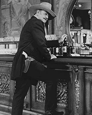 The Shootist John Wayne iconic pose at saloon bar whisky bottle gun belt 11x14 HD Aluminum Wall Art