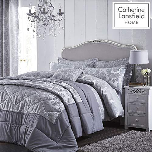 Catherine Lansfield Damast-Jacquard, silberfarben, Polyester, Silber, Bettbezug für Doppelbett