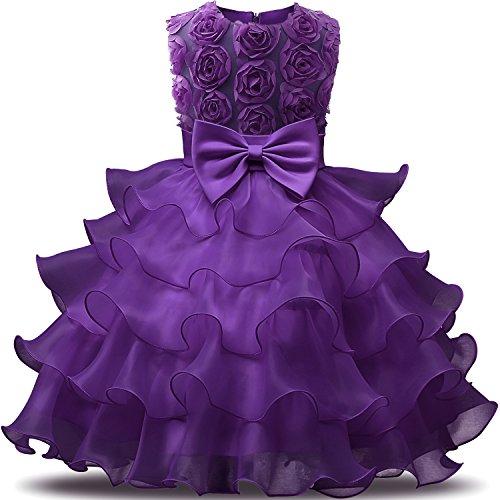 NNJXDGirlDressKidsRufflesLacePartyWeddingDressesSize(90)12-24MonthsFlower Purple