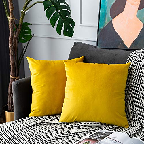 UPOPO Set of 2 Velvet Cushion Covers Decorative Plain Cushion Cover Cushion Covers Decorative Cushion Sofa Cushion for Sofa Couch Bedroom Living Room with Zips 55 x 55 cm Lemon Yellow