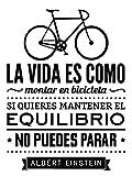 REGALOS ESTRELLA AZUL Vinilo de pared decorativos'La vida es como montar en bicicleta' Frase decorativa de pared motivadora, vinilo para habitación (60x40)