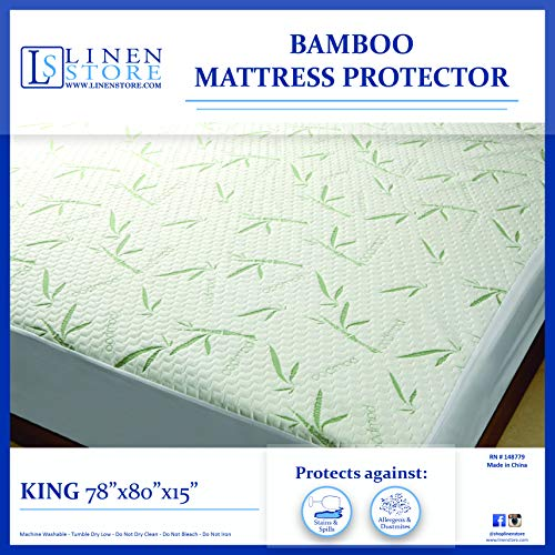 Linen Store Bamboo Mattress Protector – Water Resistant, Hypoallergenic & Ultra Soft Breathable Bed Mattress Cover with Maximum Comfort & Protection (King Size 78 x 80)