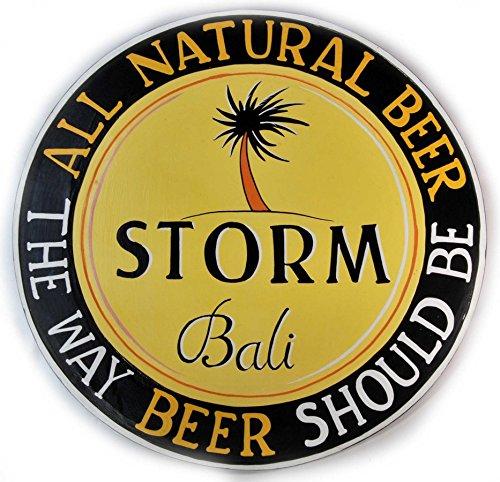 Holzschild Storm Bali Beer 50cm Durchmesser Bier Werbung Kneipe Deko Schild