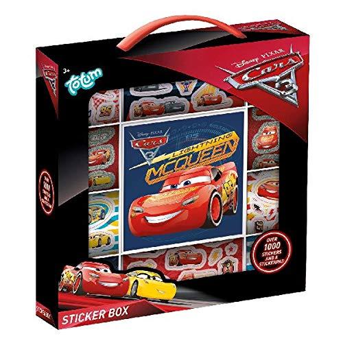 Cars3 Stickerbox mit über 1000 verschiedenen Motiven und einem coolen Stickeraufklebehintergrund