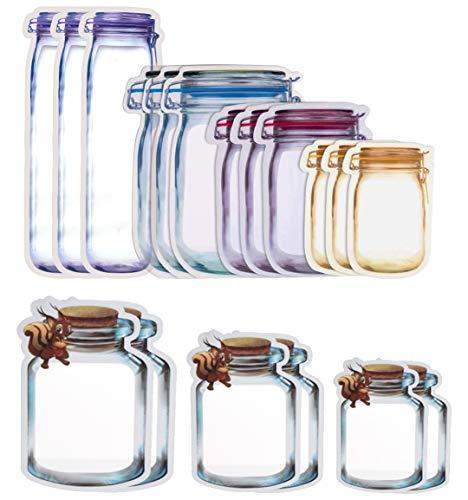 GLOBALDREAM Mason Jar Zipper Bags, 34 Stücke Mason Bottle Ziplock Bag Aufbewahrungsbeutel Snack Bag Food Saver Taschen Luftdichten Lebensmittel für Die Reise Camping und Kinder