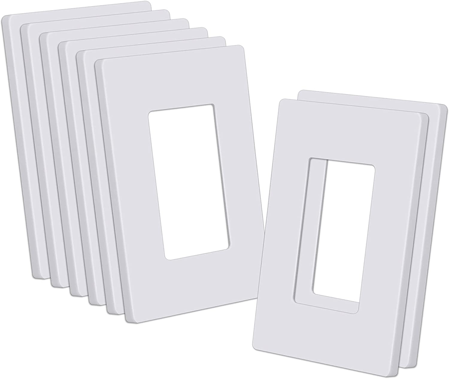 """CML Decorator Screwless Wall Plate, 1-Gang Switch Outlet Cover, 8 Pack Hidden Screw Smooth Face Switch Plates, Standard Size 2.91""""x4.68"""", Impact Resistant, White"""