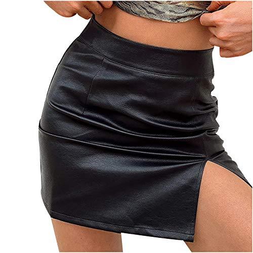 Onlbase - Falda de mujer de piel sinttica, sexy, de un solo color, con cintura alta, para otoo X5-negro. 42