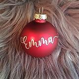 personalisierte Weihnachtskugel mit Herz und Name - Schriftfarbe und Kugelfarbe frei wählbar (weiß, glänzend)