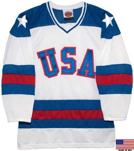 1980 USA Olympic Miracle on Ice Hockey Jersey (Youth Sizes) (White, Small)