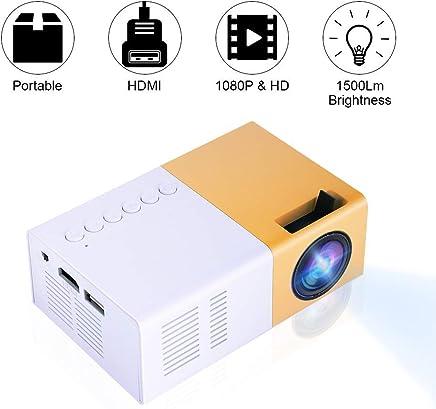 Vbestlife Mini Proyector LED Portátil 1080P Full HD 1500 Lumens Compatible HDMI,VGA,AV, USB y Micro SD Reproductor Multimedia para Sistema de Cine en Casa(Blanco)