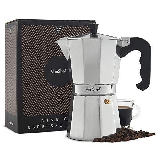 VonShef Italienischer Espressokocher für den Herd, Espressokanne für 9 Tassen (450ml) – Enthält eine KOSTENLOSE Dichtung und Filter & zwei Jahre KOSTENLOSE Gewährleistung
