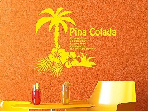GRAZDesign Küchendeko Dekorfolie Pina Colada, Wandgestaltung Küche Palme, Wandtattoo Küche Cocktail / 66x57cm / 091 Gold