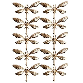 10 Pieces Gold Dragonfly Alloy Flat Back Buttons Embellishments for DIY Jewelry Making