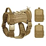Obemisk Tactical Dog Harness for Large Dogs, Military Dog Harness with Handle, No-Pull Service Dog Vest with Hook & Loop Panels, K9 Adjustable Dog Vest Harness for Training Hunting Walking, Tan