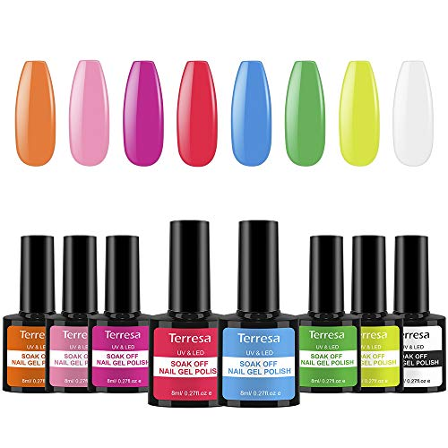 Terresa Nagellack gel-Set, saugt Nagellack, 8-farbige UV LED Nagellack, klassisches Nagellackgel-Set für DIY-Nail oder Nagelstudio