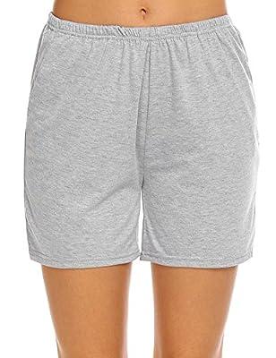 Ekouaer Women's Solid Sleep Shorts Casual Lounge Pajama Pants with Elastic Waistband (Grey,L)