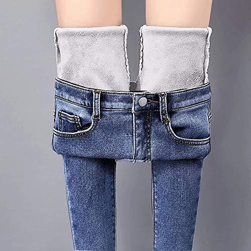 MQDL Damen Winter Jeans Fleece Gefütterte Denim Leggings,Gefüttert Thermojeans Jeans Leggings Damen,Winter Double Fleece Lined Jeggings (Dark Blue, 29)