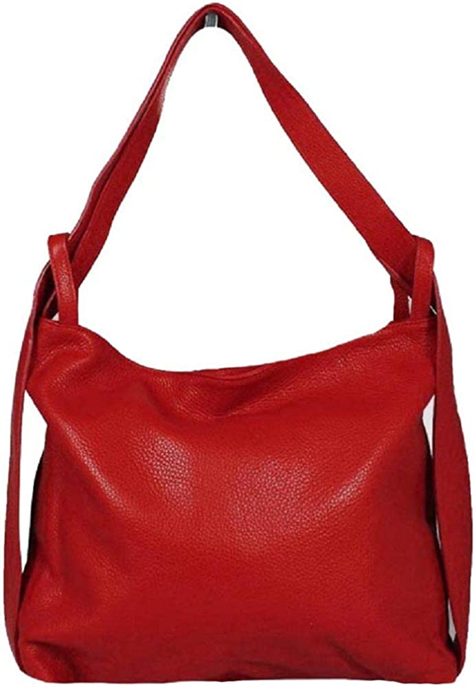 Bottega carele, borsa a spalla per donna, in vera pelle,  trasformabile in zaino,  made in italy, rossa