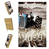AISSO Abandoned Farm Tractor LED Alarm Clocks Digital for Bedrooms Kitchen Office Custom Home Decor