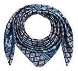corciova 35' Large Women's Satin Square Silk Feeling Hair Scarf Wrap Headscarf Navy and White Pattern